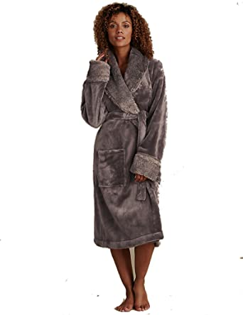 Marks Spencer Faux Fur Trim Cosy Soft Chocolate Dressing Gown Ms