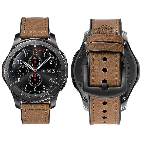 iBazal 22mm Correa Cuero Piel Ibrida Gomma Pulseras Bandas Compatible Galaxy Watch 46mm,Huawei GT