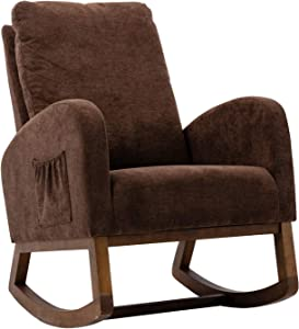 UHBGT Upholstered Rocking Chair Lounge Chair Rocking Armchair Mid-Century Fabric Rocker for Home Living Room Ofiice