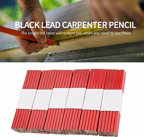 L/ápiz de carpintero L/ápiz de carpintero de duro 72 piezas 175 mm L/ápiz de carpintero de negro octogonal Herramienta de marcado de carpinter/ía