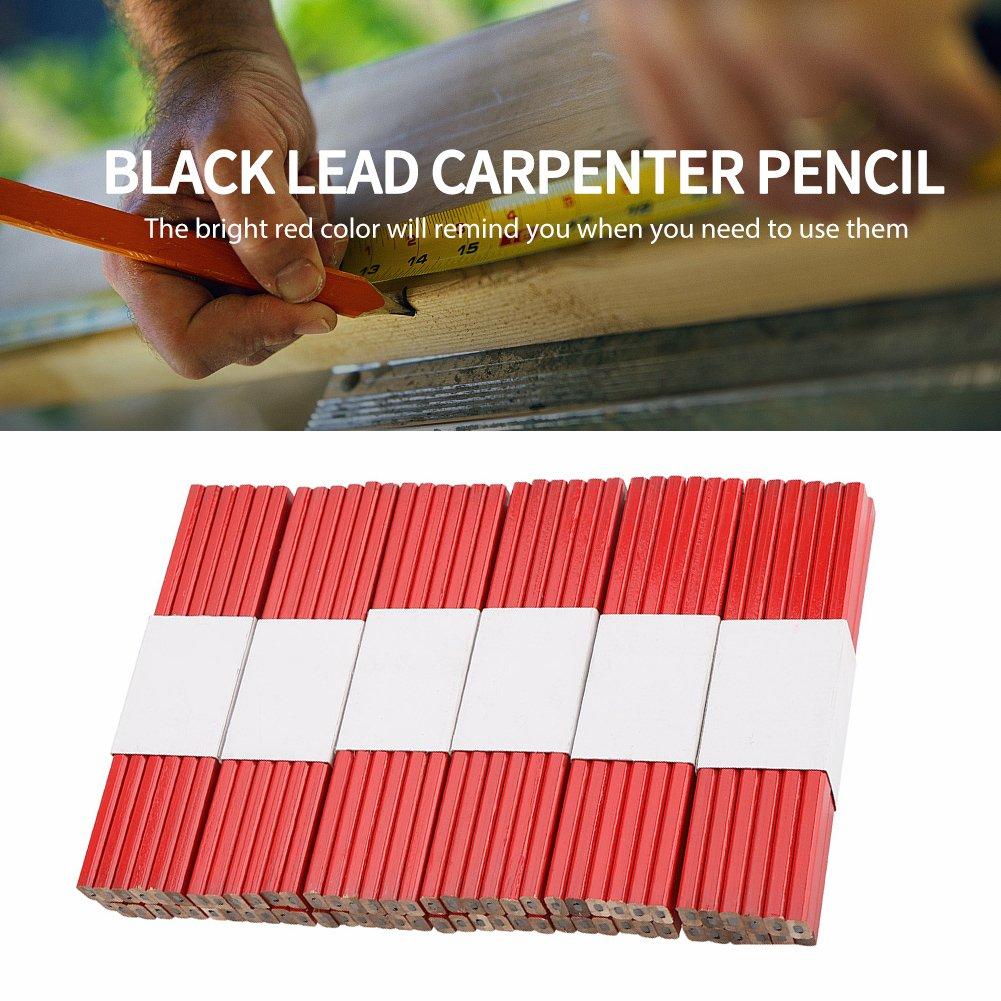 FTVOGUE 72Pcs 175mm Crayon Rouge de Charpentier Crayon /à Mine de Bois Dur octogonal marquant