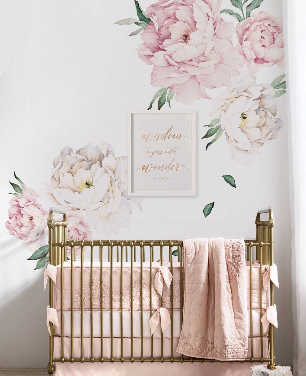 Simple Shapes Peony Flowers Wall Sticker - Vintage Pink - by