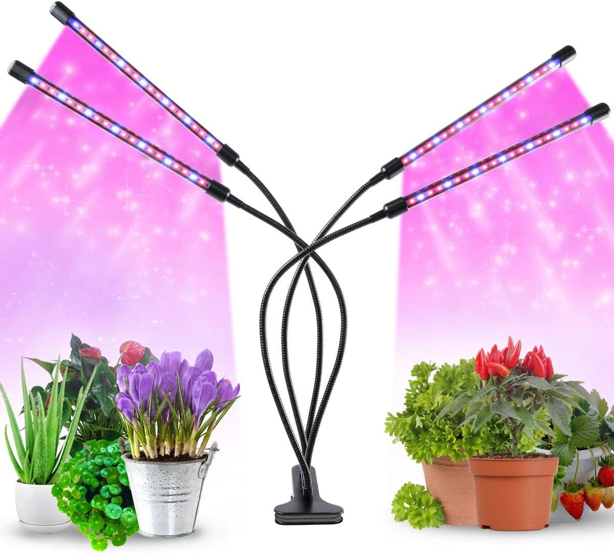 Lámpara LED de planta, 40 W, lámpara de crecimiento para las plantas de interior, espectro completo 80 LED con temporizador y 4 cabezales y 9 niveles ...