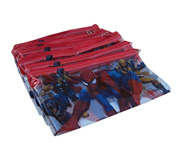 Asera 24 Pcs Kids Spiderman Plastic Pencil Pouch for Birthday Return Gifts - Spiderman Theme Party Gifts