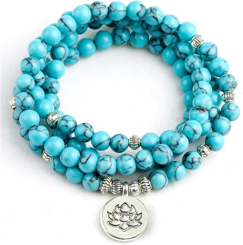 Blue Stone Men 6mm 108 Beads Strand Bracelets Lotus Buddha Mala Bracelet For Women Jewelry Gift