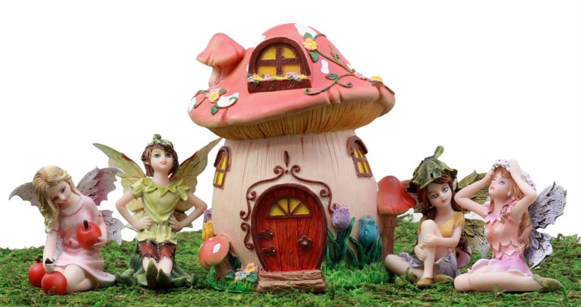 Ky & Co YesKela Fairy Garden Starter Kit Mushroom Cottage & Fairy Miniature Figurines Set of 5