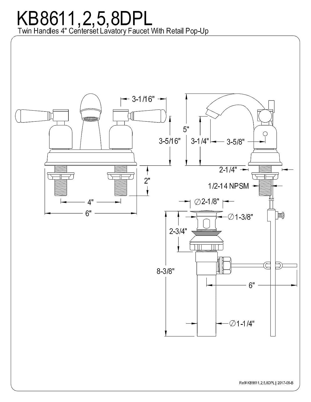 Kingston Brass KB8618DPL Paris 4-Inch Center Set Lavatory Faucet with Retail Pop-Up Brushed Nickel