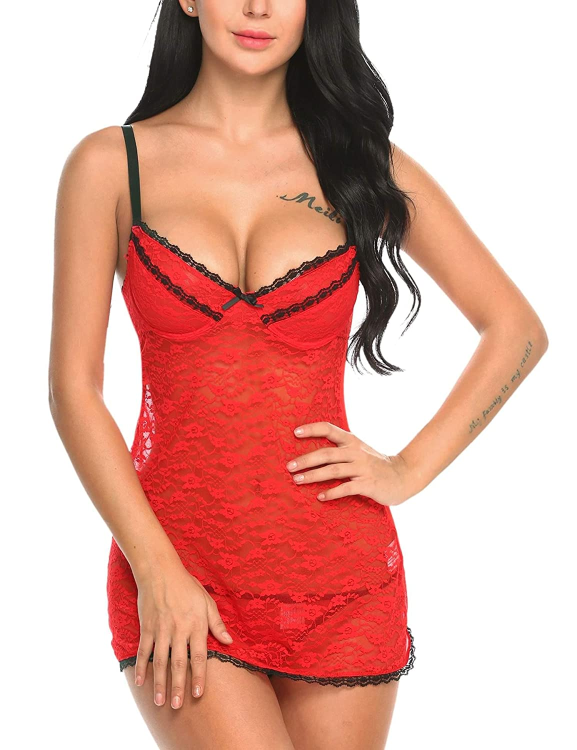 3adf52397626 Sexy Underwire Floral Lace Lingerie Sheer Night Gown with G-String Thong  Underwire lace bust, elastic shoulder straps, with open back