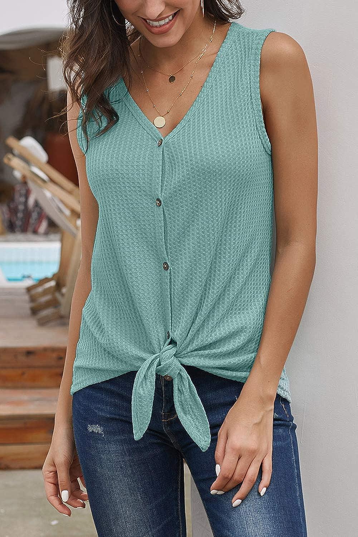 Aranmei Womens Sleeveless Button Down Shirts V Neck Tank Tops Waffle Kint Tie Front Shirt