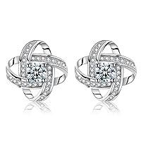 Boucles d'oreilles femme Argent 925, Trèfle Chanceux diamanté en Zirconium cubique avec Boîte, cadeau pour les fêtes, la St-Valentin, les anniversaires, bijoux Chaîne pour femmes/filles