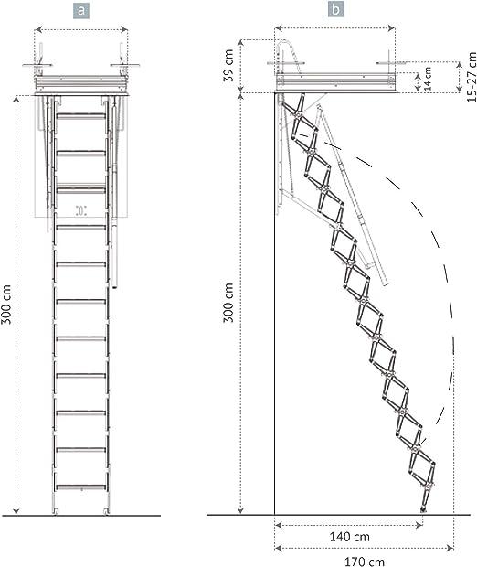 HASTA 150 Kg DE CARGA! Escalera plegable y escamoteable para hueco de 60x90 cm.: Amazon.es: Bricolaje y herramientas