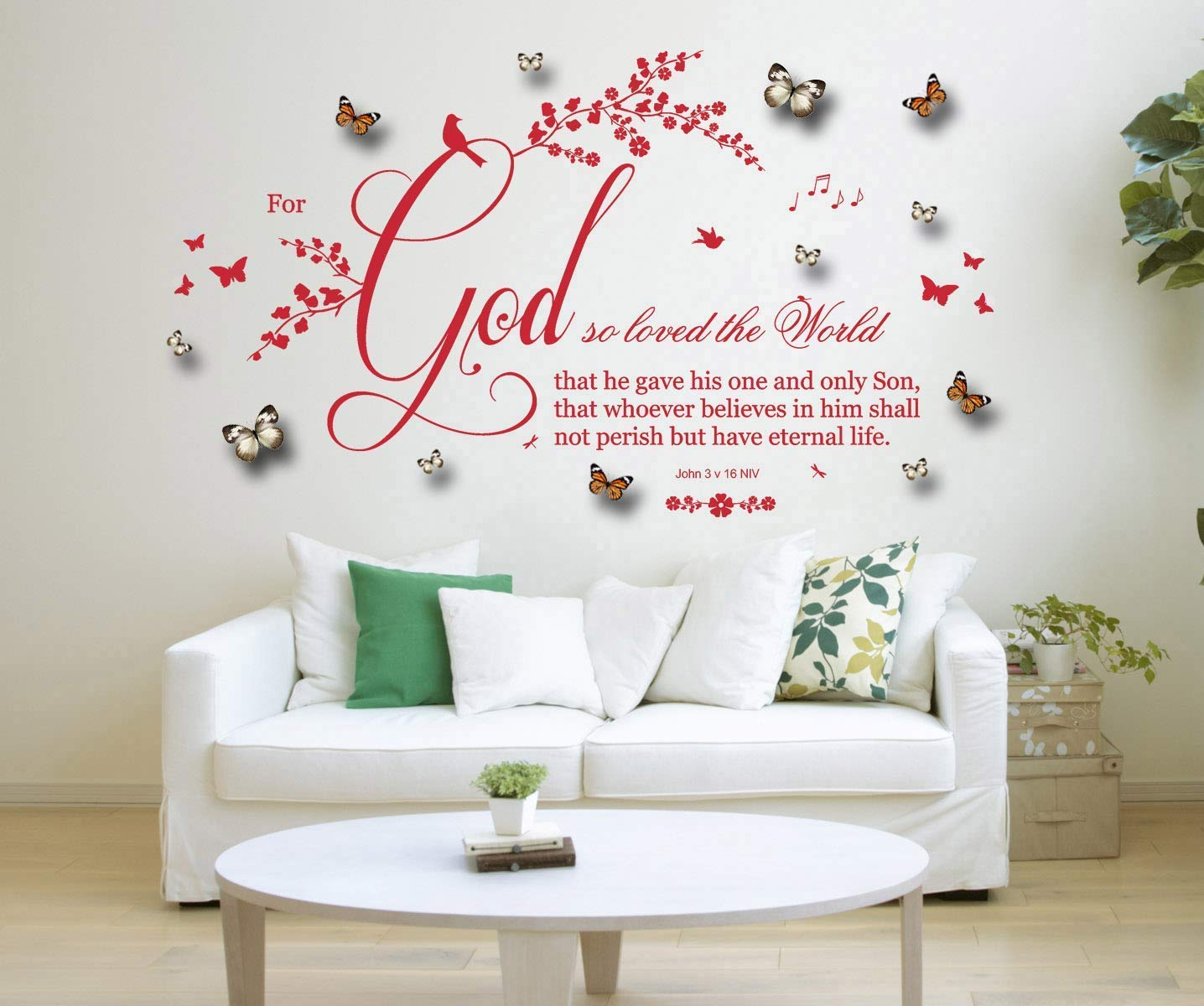 Vinyl Wall Art Large Stickers Bible Quote John 3;16 Mural Bedroom Decoration