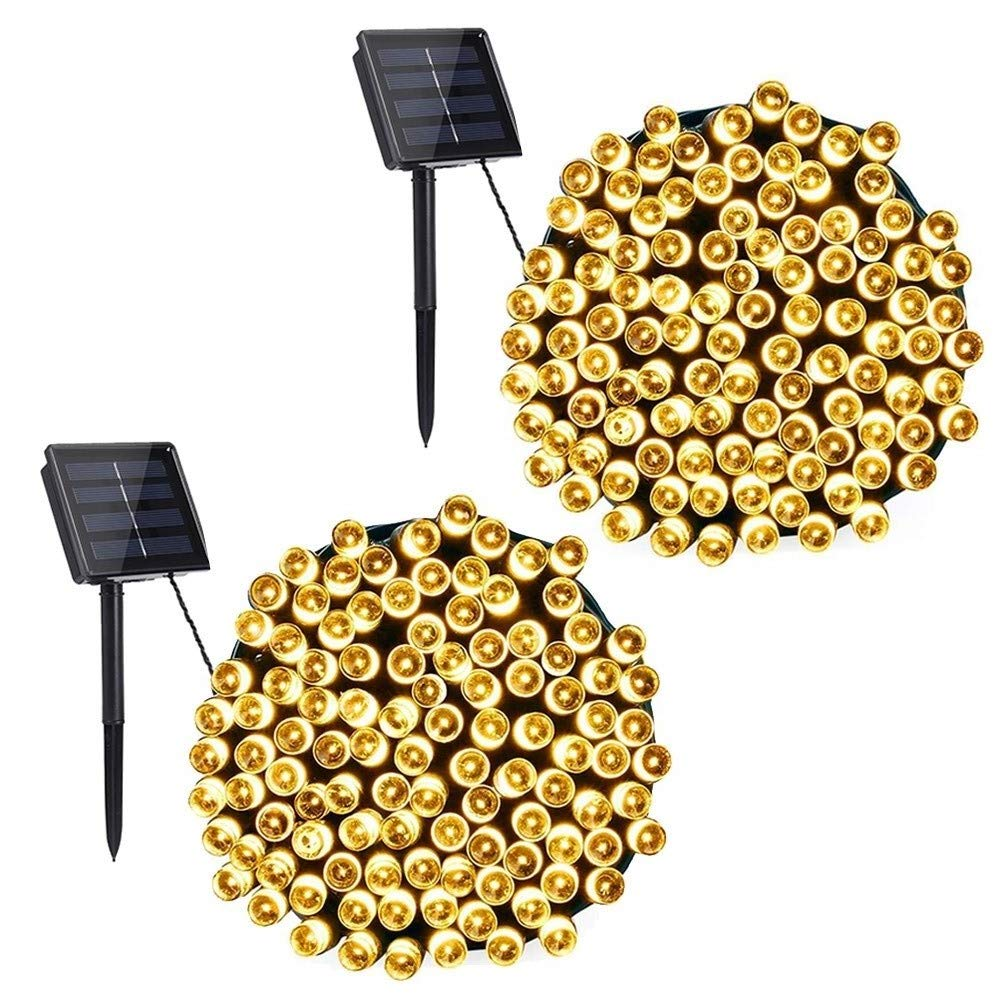 Toodour 2 Pack Solar String Lights 72ft 200 LED 8 Modes Solar Powered String Lights Waterproof Fairy String Lights for Garden, Patio, Home, Wedding, Party, Christmas(Warm White)