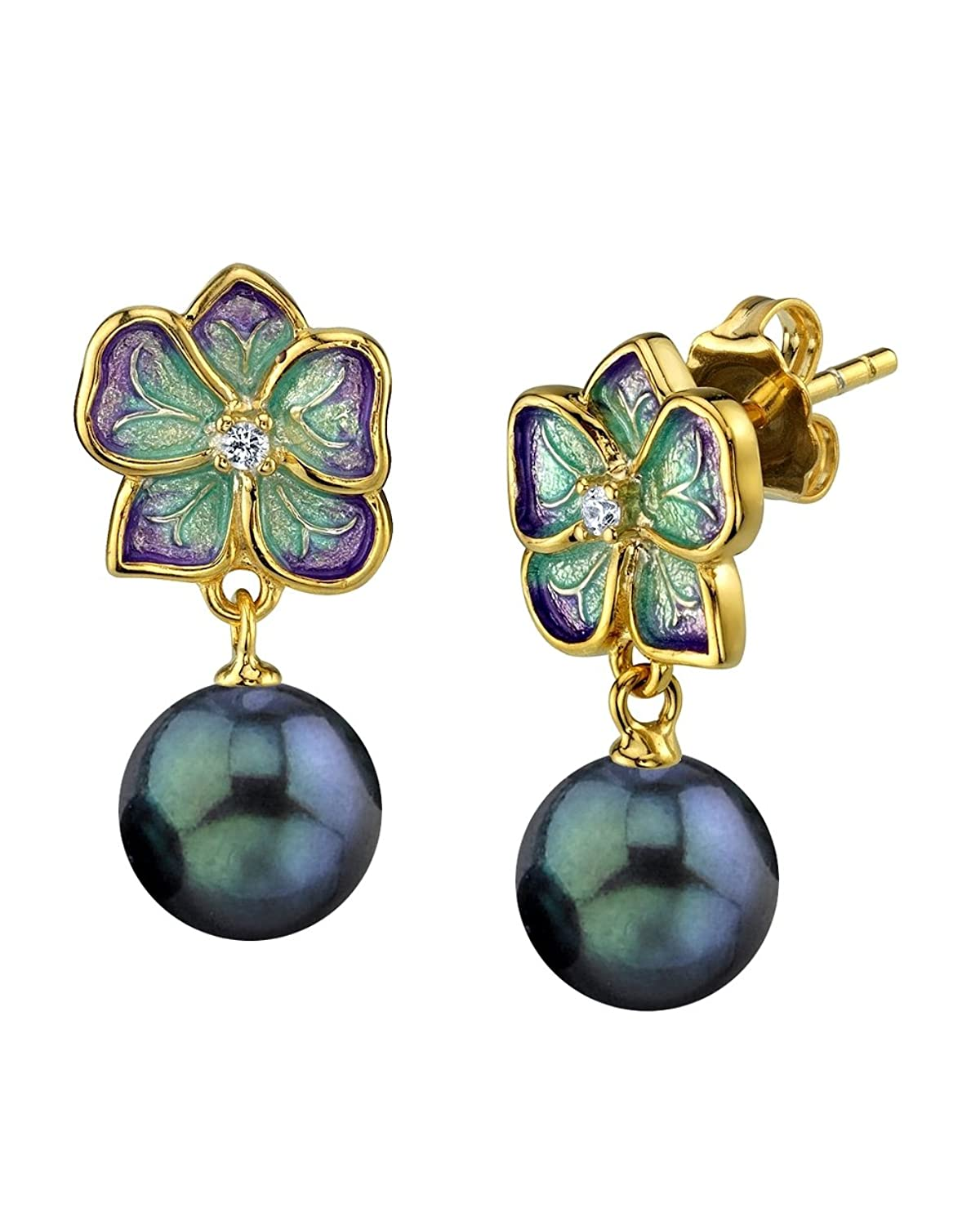 THE PEARL SOURCE Gold Plated Black Japanese Akoya Pearl & Crystal Maggie Earrings for Women