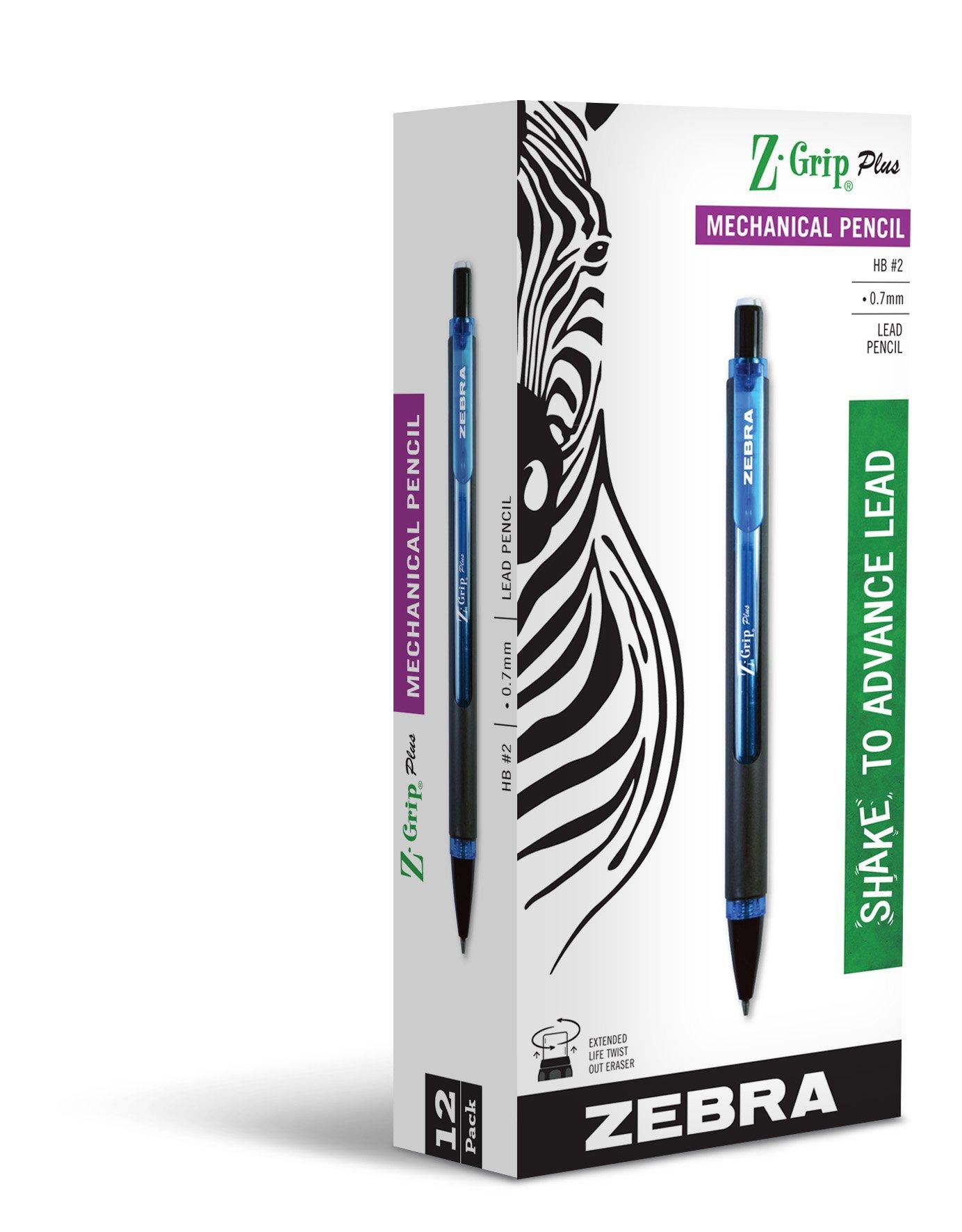 12 Lapices Mecánico Color Azul Barrel 0.7 Zebra Z-grip