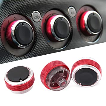 Air Conditioning & Heater Control 3pcs/Set Air Conditioning Heat Control Switch knobs AC Knobs for Ford Focus 3 MK3 Sedan Hatchback Mondeo Auto Accessories Red Automotive
