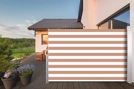 CCLIFE Toldo Lateral Anti-UV Marquesina Lateral Separador retráctil terraza protección 3 tamaño, Tamaño:180x300cm, Color:Streifen: Amazon.es: Jardín