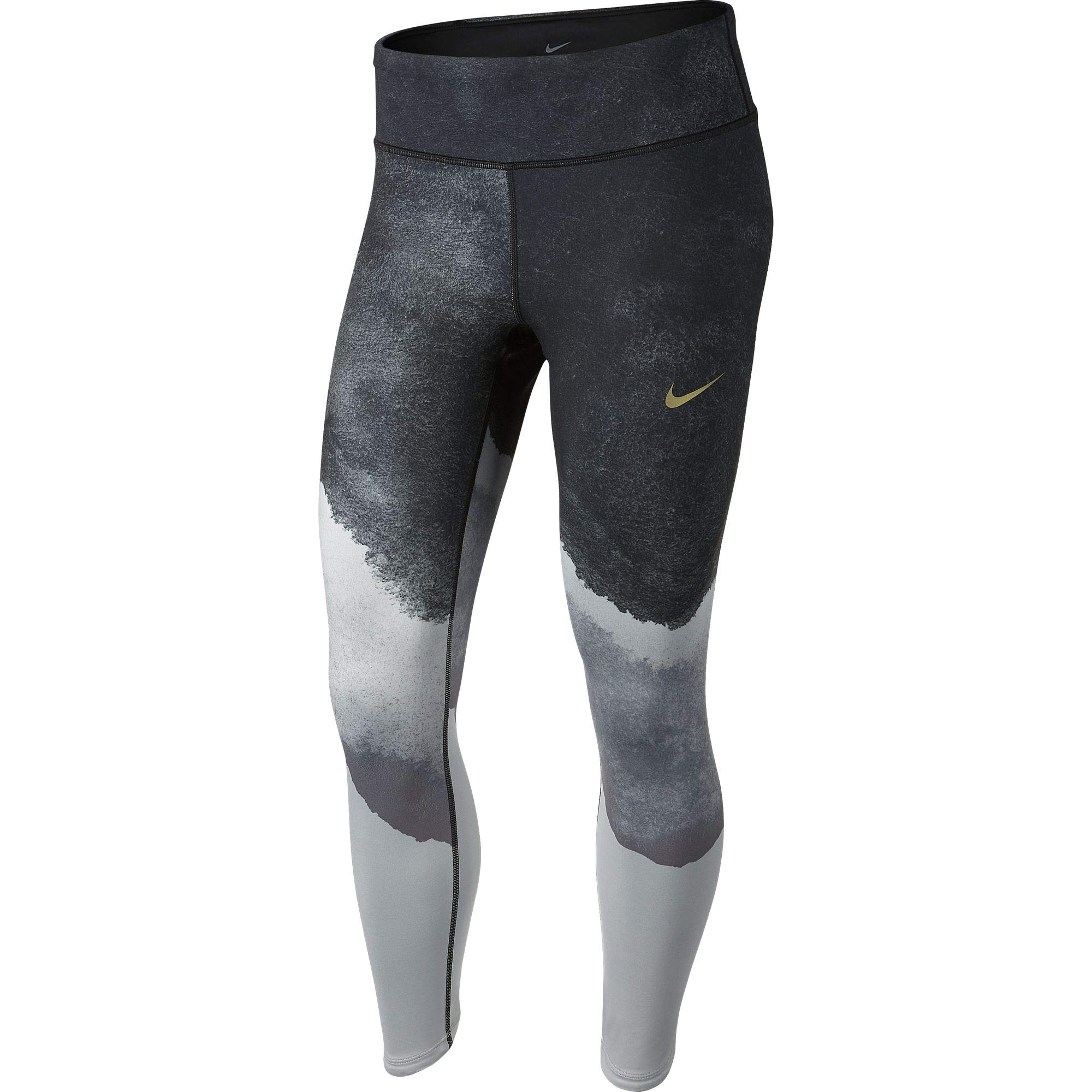 Nike Women's Epic Lux Watercolor Running Tights Wolf Grey/Cool Grey/Black/Reflect Gold S by Nike (Image #1)