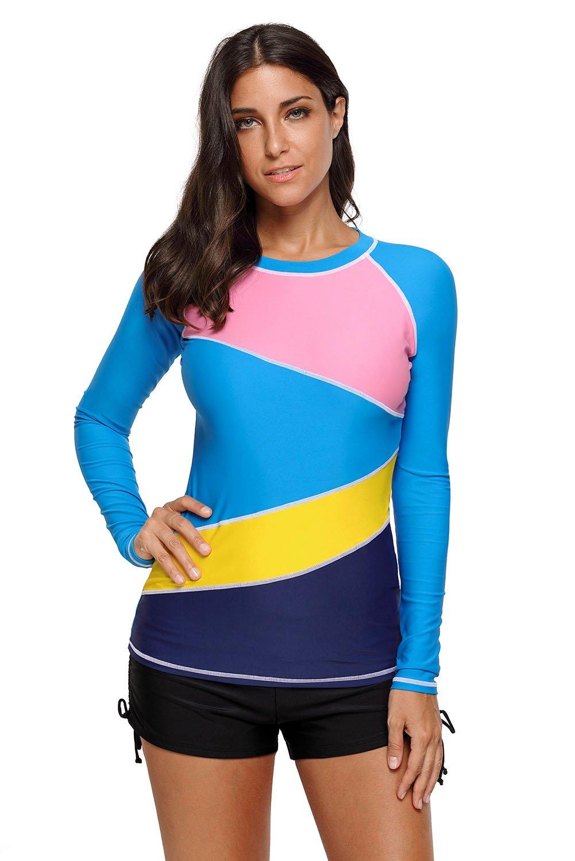 Sexybody Women's Long Sleeve Rashguard Athletic Rash Guard Shirts Top Swimwear Swimsuit
