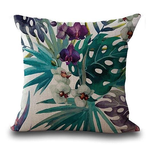 Lenfesh Fundas de Cojines Almohada de Plantas tropicales Hoja Verde Decorativos Diseño para Sillas Camas Sofás Sofás (# 4)