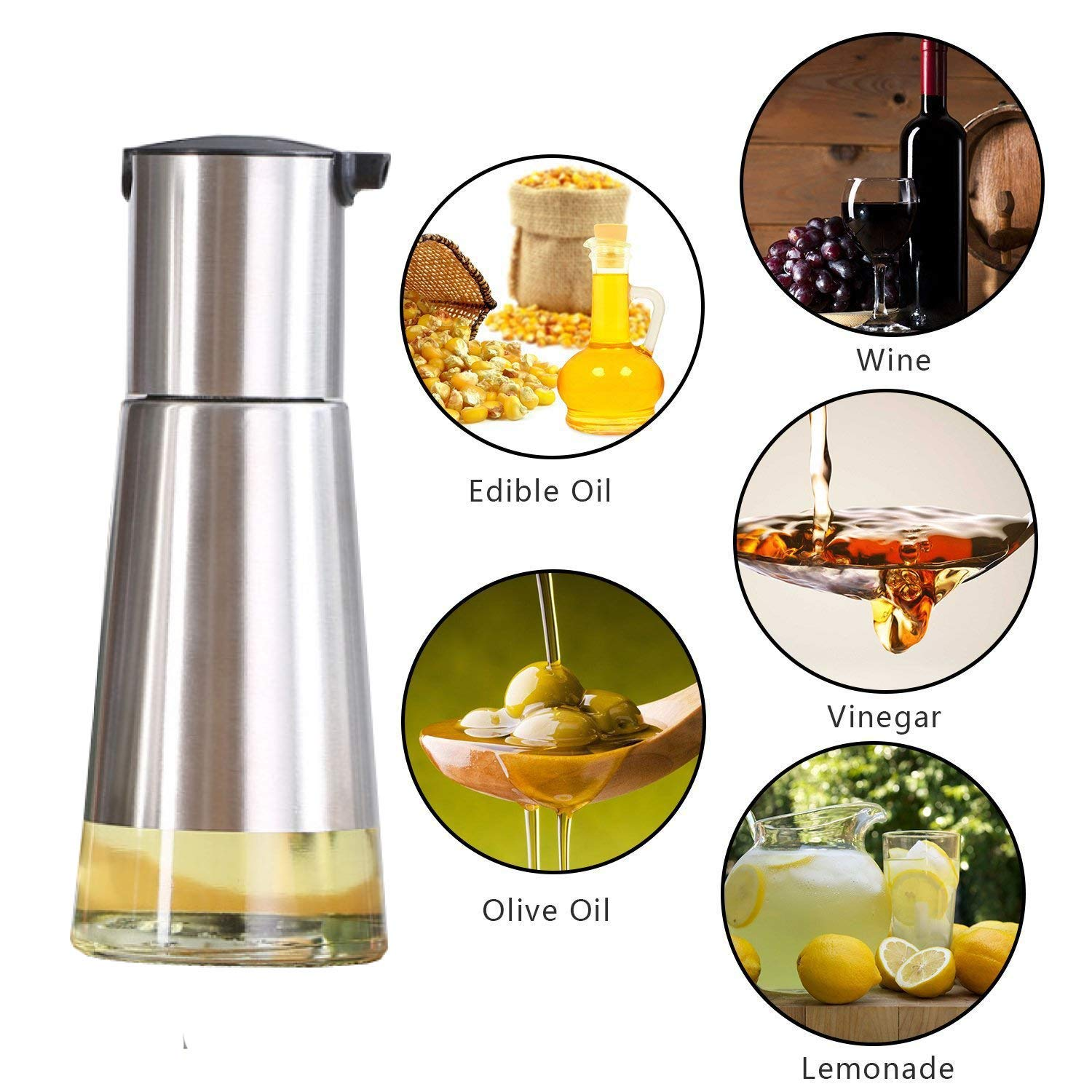 Amazon.com: Controllable Oil And Vinegar Dispenser 2 Packs, Kitchen Glass Olive Oil Bottle Set, Stainless Steel No Drip Design Small (8Oz / 230ml),2 Brushes ...