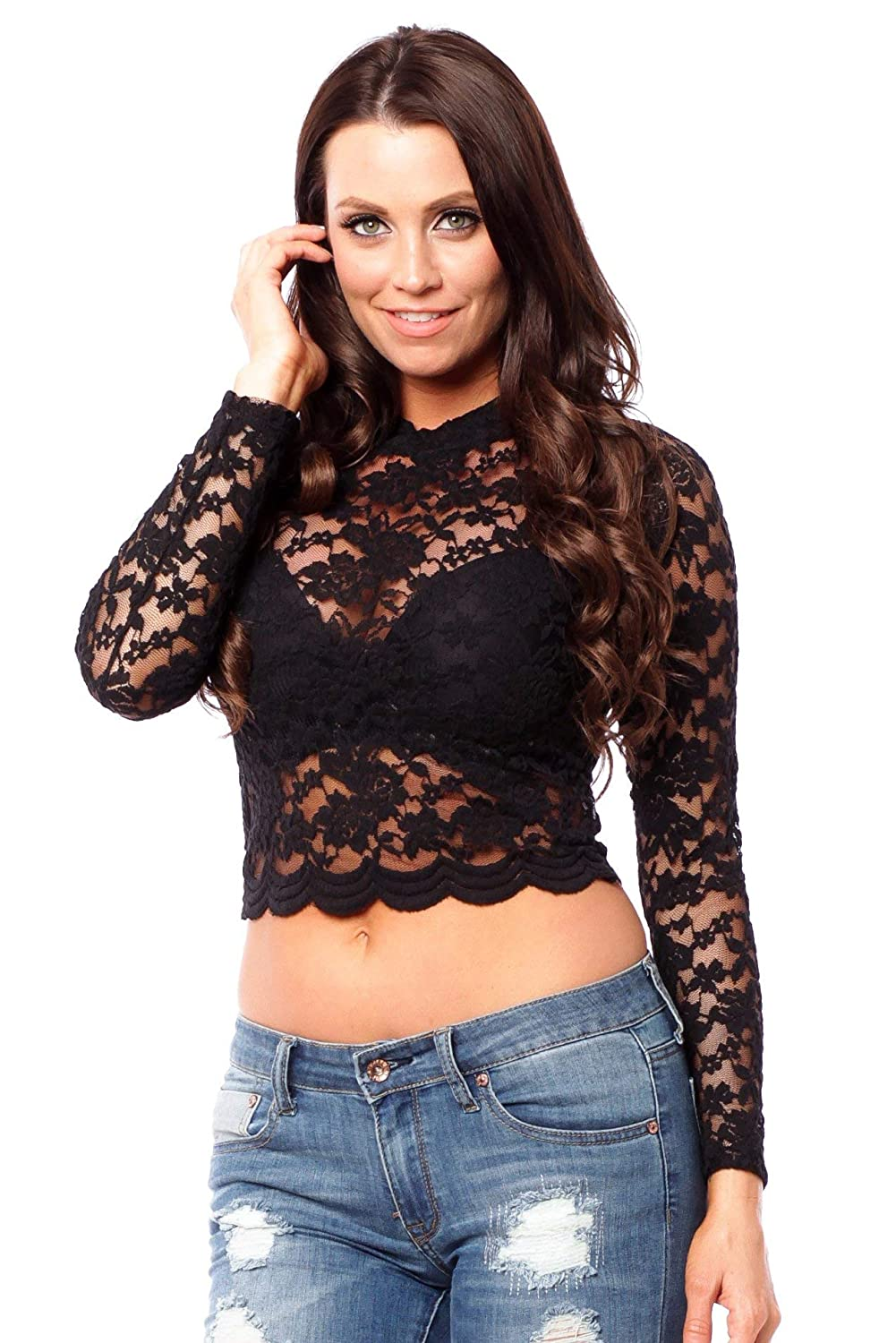 d10d7acc7a4 Hollywood Star Fashion Long Sleeve Lace Mock Neck Crop Top at Amazon  Women's Clothing store: