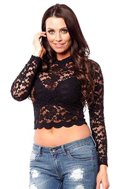 e1e1be23d34 Hollywood Star Fashion Women's Long Sleeve Lace Mock Neck Crop Top (Small,  Black)