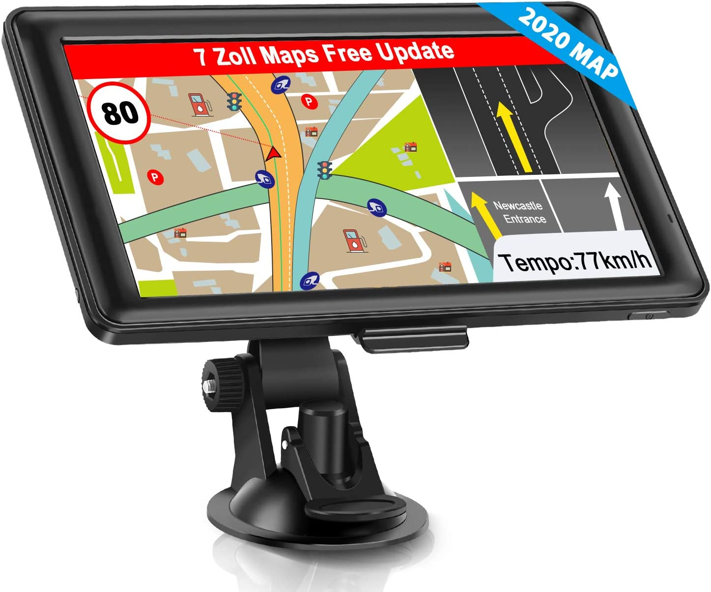 Gps Sat Nav Navigation For Car Lorry Vehicle Touchscreen 7 Inch 8g 256m Voice Guide Speed Camera Warning With Poi Lifetime Free Map Update Navigation Device Lane Assistant Eu Uk 48 Maps