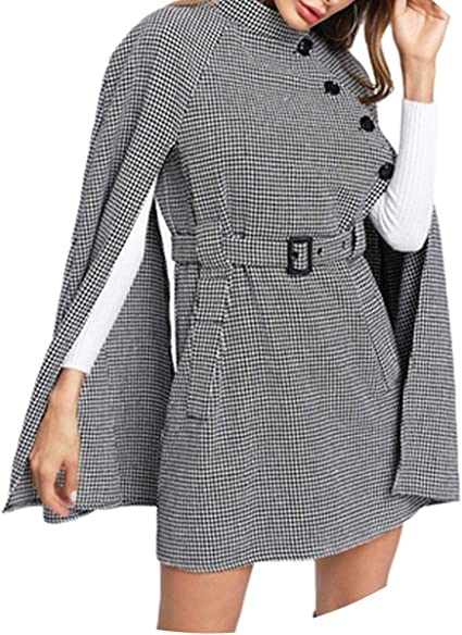 better-caress Winter Houndstooth Short Thick Warm Coat