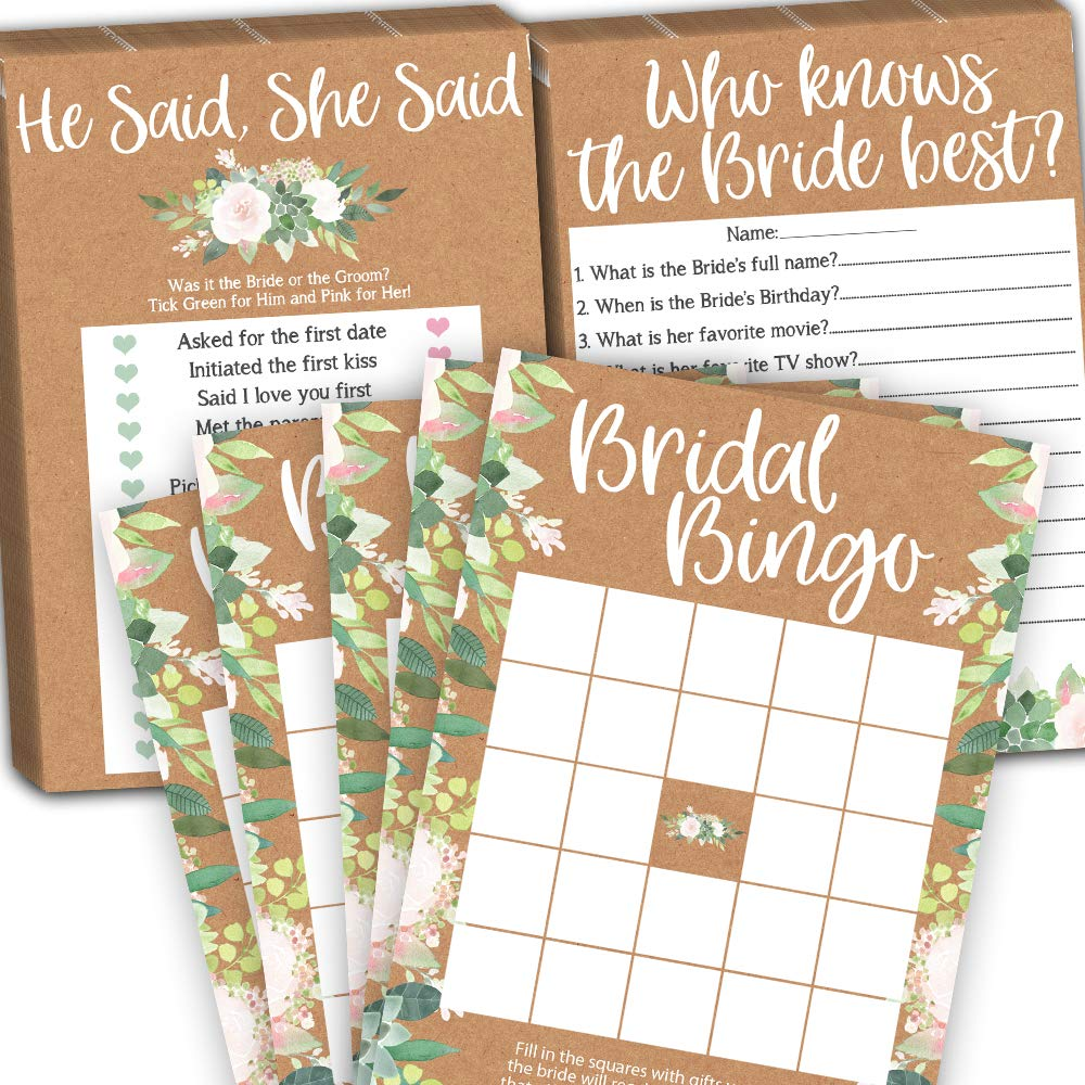 Bridal Shower Games Pack Bundle, Kraft Wedding Shower Games for Guest, Bridal Bingo, He Said She Said and Who Knows Bride Best, 25 Cards per Game (75 Cards Total), Fun Bridal Wedding Shower Card Games