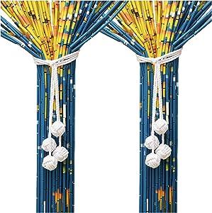 Macrame Curtain Tiebacks - Natural Cotton Drapery Holdbacks - Handmade Rural Decorative Curtain Holdbacks - Adjust Length Freely Curtain Ties Suitable for Most Types of Curtains (Set 2-4 Globe-White)
