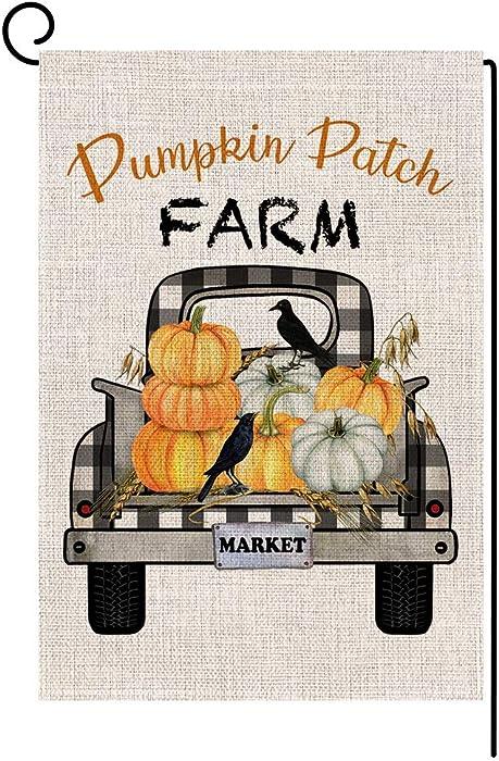 BLKWHT 165021 Pumpkin Patch Farm Market Fall Small Garden Flag Vertical Double Sided 12.5 x 18 Inch Farmhouse Autumn Burlap Yard Outdoor Decor
