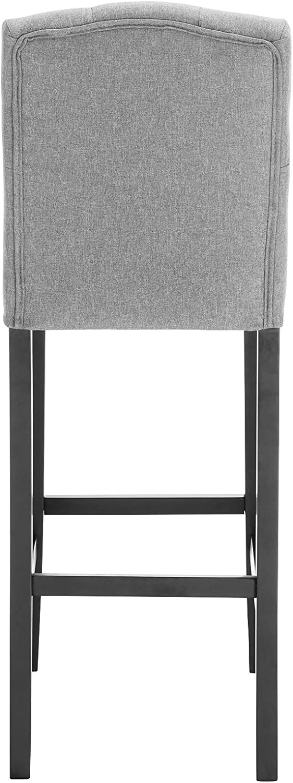 WOLTU 2 X Tabouret de Bar avec Dossier,Chaise de Bar Fait de Bois Massif et Lin,BH102hgr-2 Gris Clair