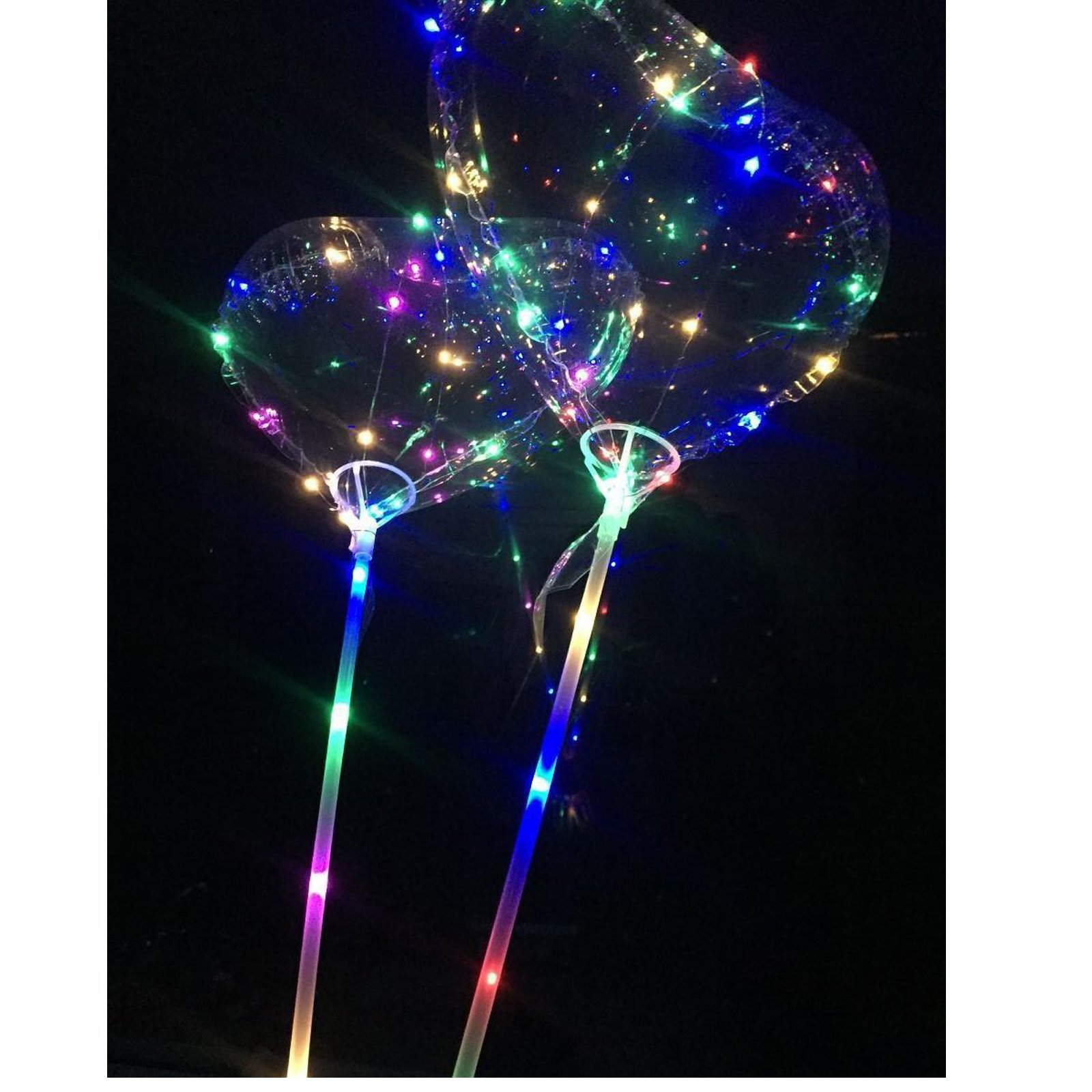 LED Light Up Heart Shape Balloons, Reusable Double Layer Balloon inside a Balloon with support cup and stick, Perfect for Birthday,Wedding, Holiday, Special Occasion and Event Decoration (50) by Capital Wireless