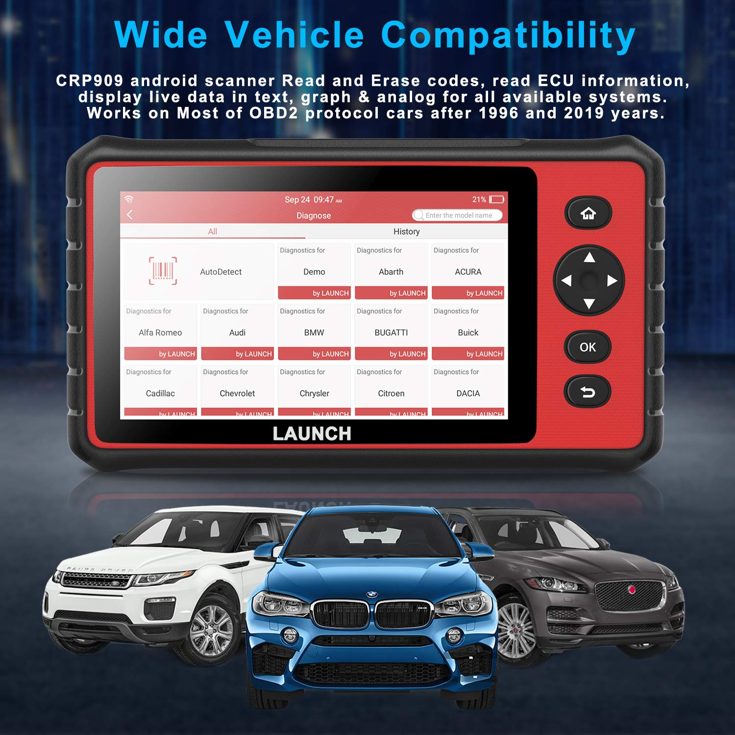 Scan Tools LAUNCH CRP909 Automotive OBD2 Scanner 7 inch Touch ...