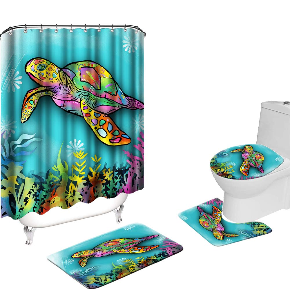 VividHome 4PCs Sea Turtle Shower Curtain Set with Non-Slip Bathroom Mats, Toilet Lid Cover Mat,U Shaped Bath Contour Mat, Nautical Ocean Shower Curtains with 12 Hooks, Polyester Fabric Waterproof Bath