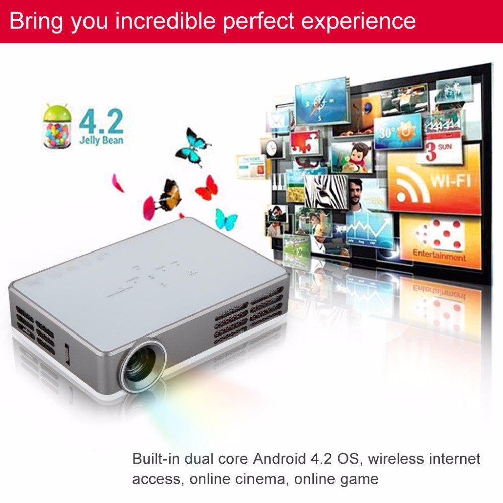 スマートAndroidミニプロジェクター最新フルHDスマートプロクターLED LCD WIFIベストホームシアタービーマーDLPプロジェクター1080pゲームプロジェクター [並行輸入品] B076HGDGXQ