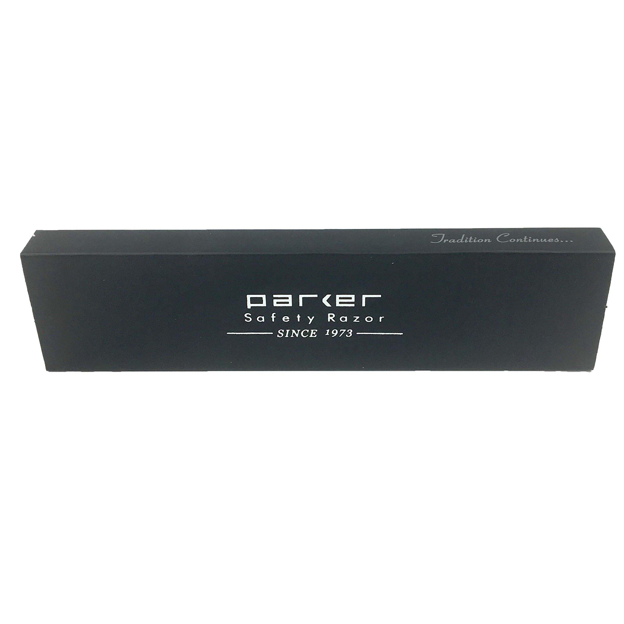 Parker SR1 Stainless Steel Straight Edge Barber Razor and 5 Shark Super Stainless blades