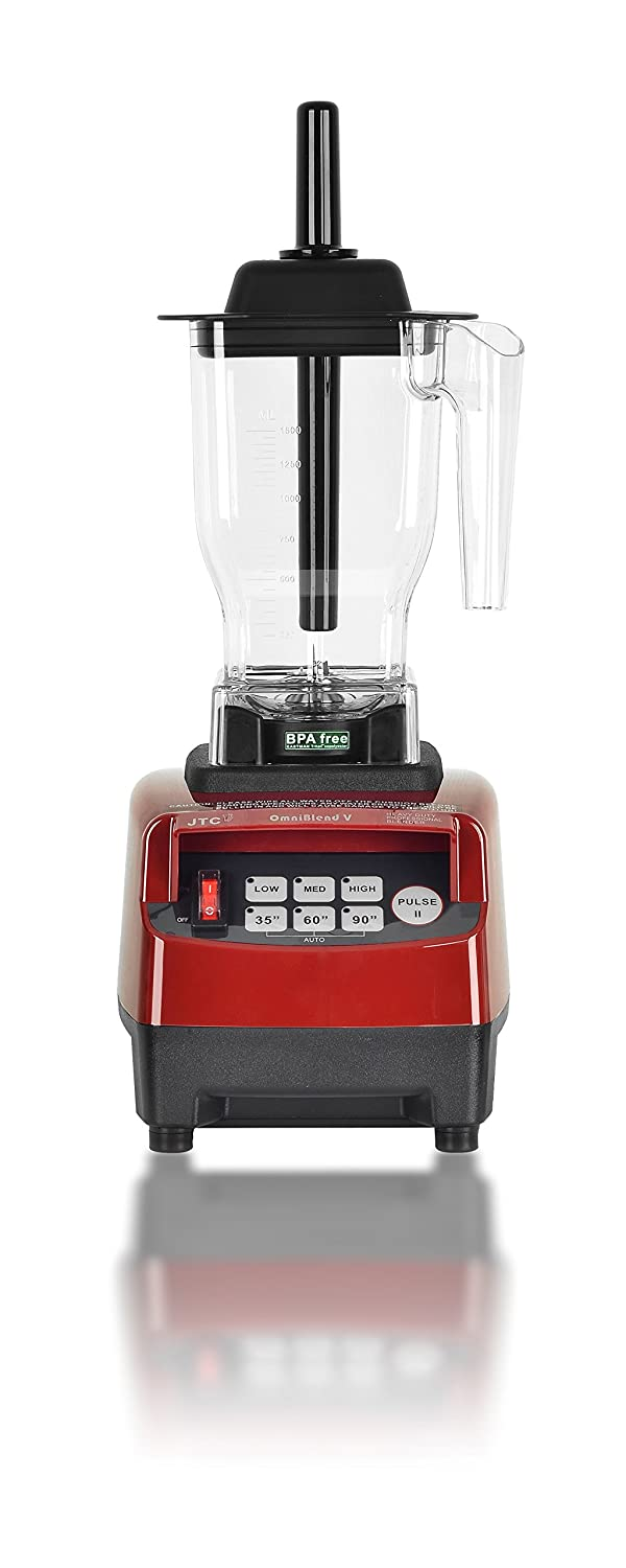 OmniBlend V Commercial Blender for Smoothies Shakes Cocktails, Heavy Duty 3-Speed, Self-Cleaning, Includes Multi-functional 2-in-1 Wet Dry Blades, 1.5 Liter BPA-Free Shatter-Proof Jar (Maroon)