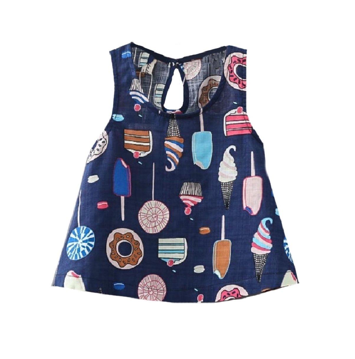 Zago Girls' Ice Cream Printed Sleeveless Fine Cotton Vest Dresses Navy Blue 130