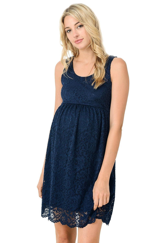 Hello MIZ Women's Floral Lace Sleeveless Knee Length Maternity Dress
