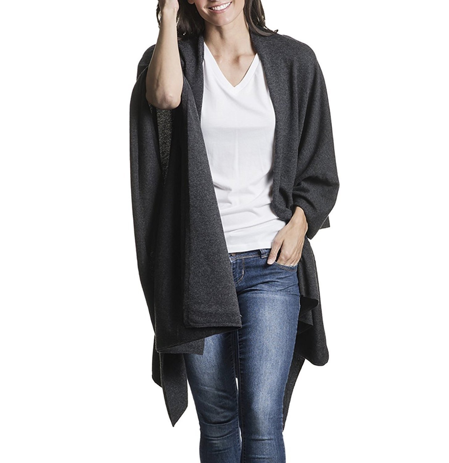 Mer Sea Cotton Cashmere Travel Wrap (Black) by Mersea