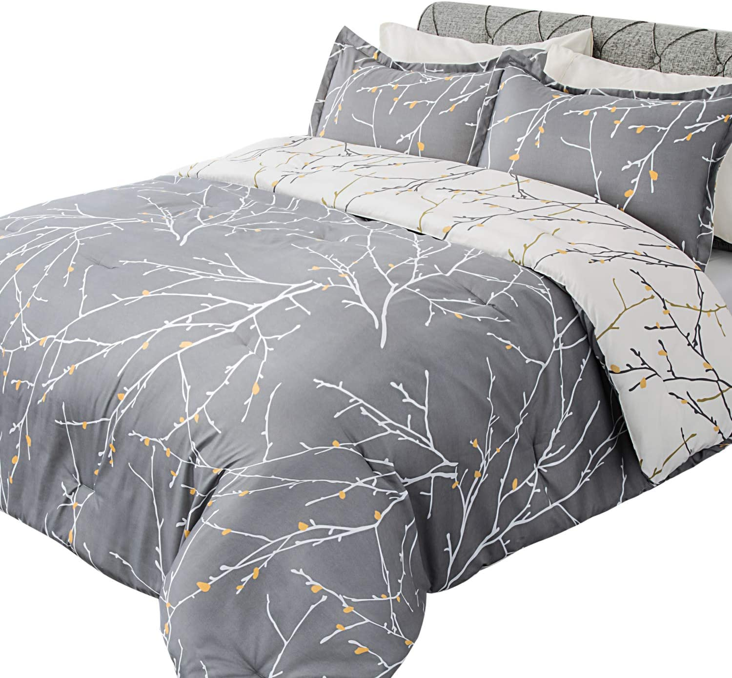 Bedsure Comforter Set Queen Size, Reversible Down Alternative Comforter Microfiber Duvet Sets (1 Comforter + 2 Pillow Shams), Tree Branch Floral, Grey&Ivory