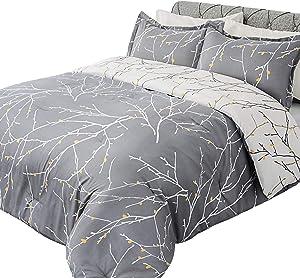 Bedsure Comforter Set Queen Size, Reversible Down Alternative Comforter Microfiber Duvet Sets (1 Comforter + 2 Pillow Shams), Tree Branch Floral, Grey&Ivory
