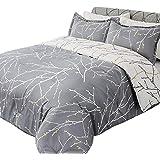 Bedsure Tree Branch Floral Comforter Set King Size Grey&Ivory Reversible Down Alternative Comforter Microfiber Duvet Insert (1 Comforter + 2 Pillow Shams)