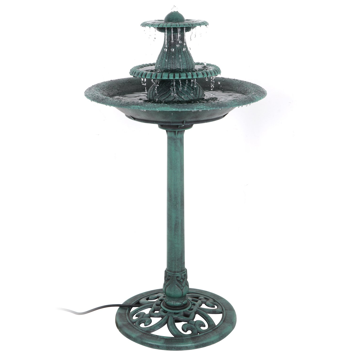 ZENY Birdbath 32 Height Pedestal Bird Bath Antique Outdoor Garden Decor Vintage Yard Art (Green w/Fountain)