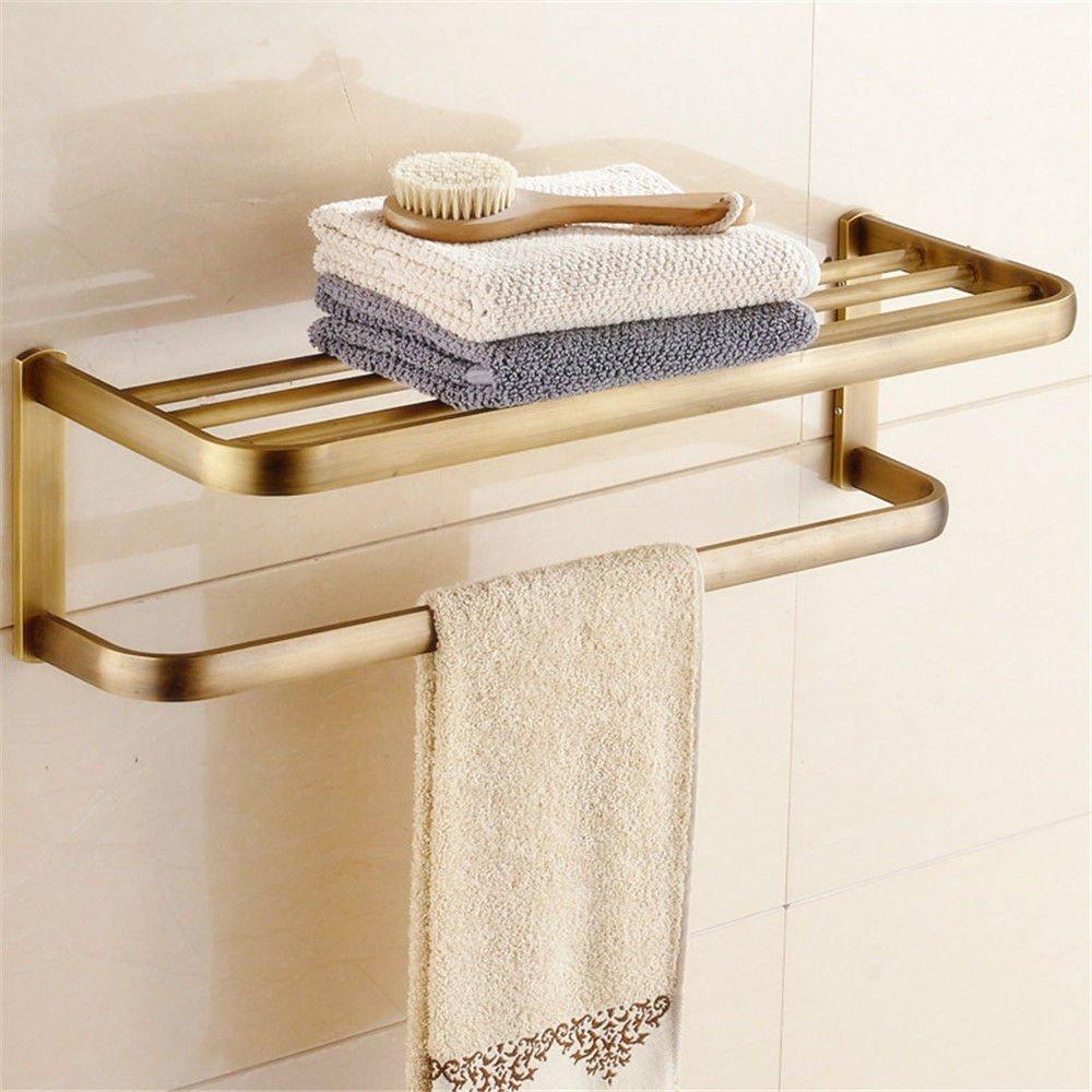 Hlluya Handtuchhalter Antik Messing - Handtuchhalter Handtuchhalter aus gebürstetem Doppel Wand Handtuchhalter WC Racks,