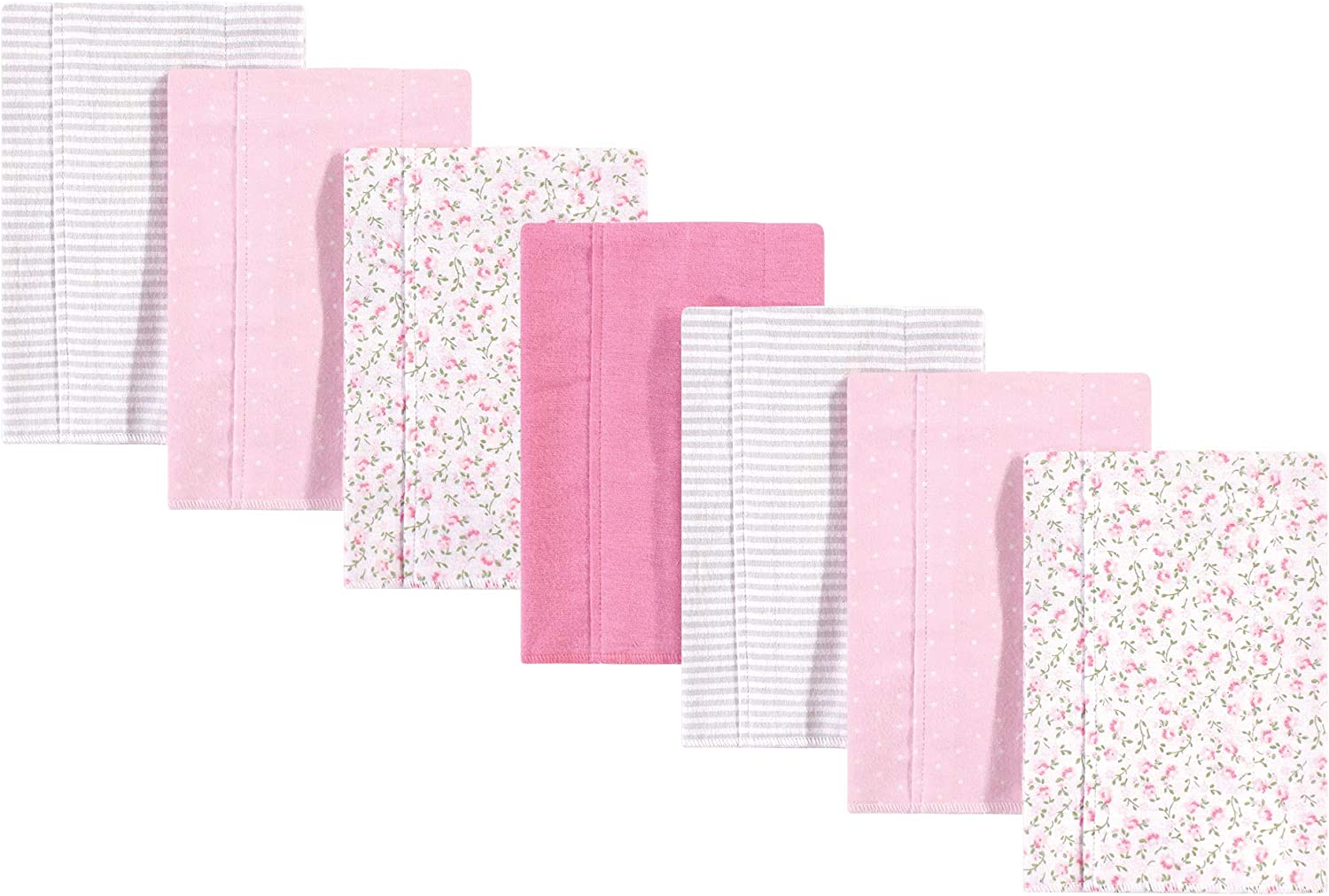 Hudson Baby Unisex Baby Cotton Flannel Burp Cloths Pink Peony One Size