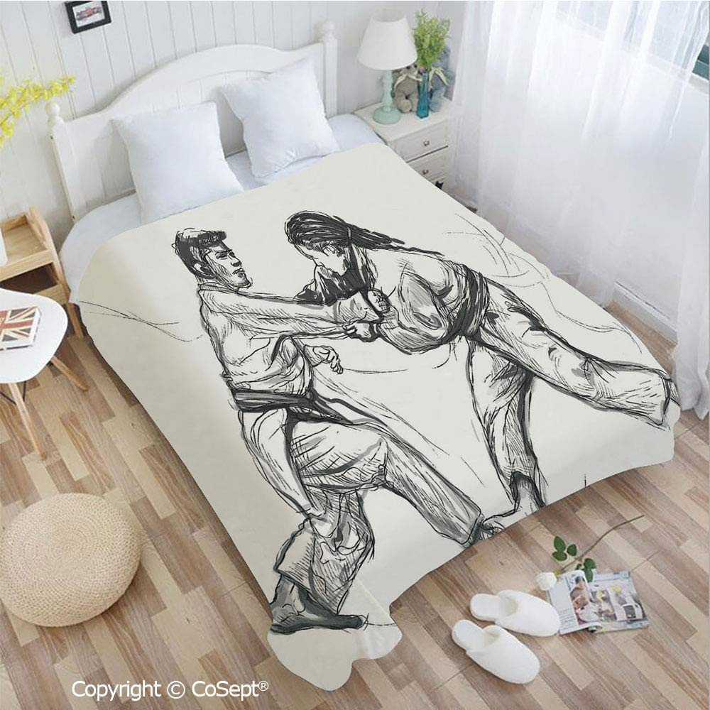 PUTIEN Warm Flannel Blanket,Karate Eastern Martial Arts Fighting Men Combat Traditional Hand Drawn Print,Perfect for Camping,Picnic & The Beach with a Waterproof(72.83'' x 86.61''),Light Grey White by PUTIEN