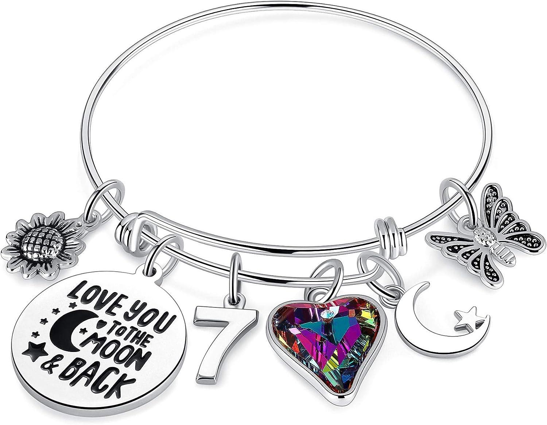 Birthday Gifts for Women Girls Bracelet, Birthday Charm Bracelets 10th 20th 30th 40th 50th 60th 70th 80th 90th Birthday Gift for Daughter, Sister, Friend, Teen Girls, Mom, Grandma